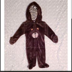 Weeplay Dark Brown Bear Zipper w/striped hoodie